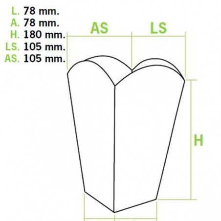 Medium Popcorn box weiß 90gr. 7,8x10,5x18cm (50 Einh.)