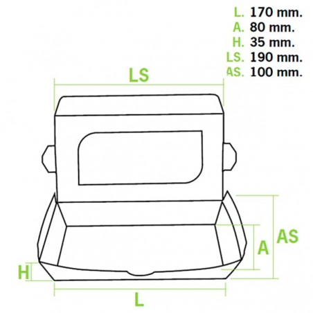 Verpackung aus Karton mit Sichtfenster 19x10x3,5cm (400 Einh.)