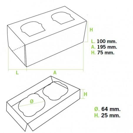 Cupcake Box für 2-Cupcake 19,5x10x7,5cm blau (20 Einh.)