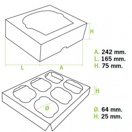 Cupcake Box für 6-Cupcake 24,3x16,5x7,5cm pink (100 Einh.)