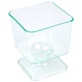Transp. Grün Plastik Gläser Quadrat mit fuß 60 ml (12 Einheiten)