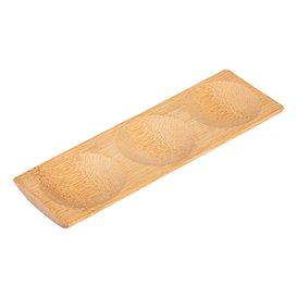 Bambustablett 3-geteilt 18x5,5x1cm (12 Stück)