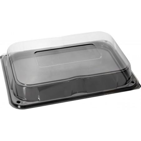 Plastiktablett schwarz mit Deckel 35x24cm (25 Stück)